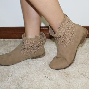 Tan Lace Detail Booties